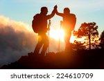 Hiking People Reaching Summit...
