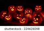 Carved Halloween Pumpkins Lit...