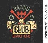 car racing club emblem in retro ... | Shutterstock .eps vector #224629348
