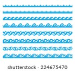sea wave pattern set 1 ... | Shutterstock .eps vector #224675470