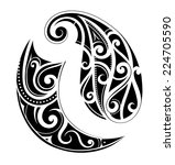 maori ethnic tattoo set | Shutterstock .eps vector #224705590