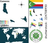 vector map of comoros with coat ... | Shutterstock .eps vector #224708950