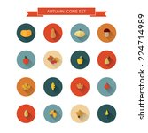 autumnal icons set with long... | Shutterstock .eps vector #224714989