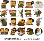 indonesian people in various act | Shutterstock .eps vector #224716630