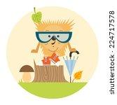 cartoon hedgehog  hipster style ... | Shutterstock .eps vector #224717578