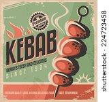 kebab retro poster design... | Shutterstock .eps vector #224723458