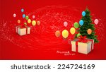 illustration of gift box and... | Shutterstock . vector #224724169