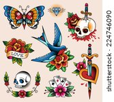 set of color vintage tattoos... | Shutterstock .eps vector #224746090