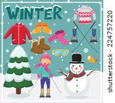 set of winter elements and... | Shutterstock .eps vector #224757220