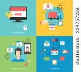 flat icons design for online...   Shutterstock .eps vector #224757226
