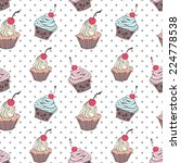 doodle cupcakes pattern  | Shutterstock .eps vector #224778538