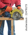 Construction Worker Cutting Beam with circular saw isolated over white - stock photo