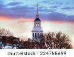 Stock photo lowell house harvard university white bell tower iconic blue dome sunset sky winter scene 224788699