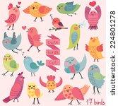 cute cartoon birds set. vector... | Shutterstock .eps vector #224801278