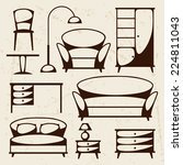 interior icon set with... | Shutterstock .eps vector #224811043