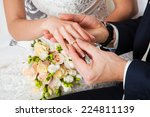 the groom wears the ring bride. ... | Shutterstock . vector #224811139