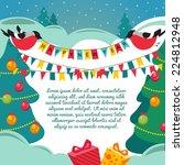 christmas card with a birds.... | Shutterstock .eps vector #224812948
