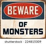 vintage metal sign   beware of... | Shutterstock .eps vector #224815309