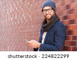 typing text message. side view... | Shutterstock . vector #224822299