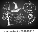 halloween chalked collection.... | Shutterstock .eps vector #224843416