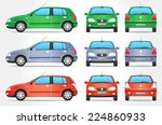 vector small car   side   front ... | Shutterstock .eps vector #224860933
