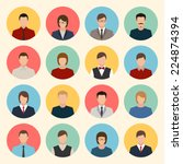 male and female faces avatars. flat style vector icons set | Shutterstock vector #224874394