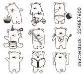 cartoon baby bears in action... | Shutterstock . vector #224887600