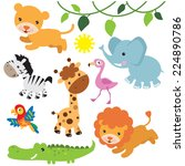 jungle animals vector... | Shutterstock .eps vector #224890786