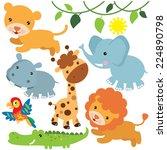 jungle animals vector... | Shutterstock .eps vector #224890798
