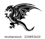 angry black dragon tattoo... | Shutterstock .eps vector #224892610