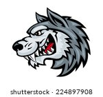 cartoon angry wolf head...