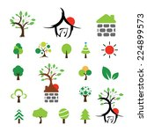 vector house and tree symbol... | Shutterstock .eps vector #224899573
