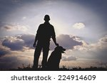 Stock photo dog and man silhouette 224914609