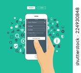 hand holding smartphone logging ... | Shutterstock .eps vector #224930848