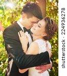 gently groom kisses the bride ... | Shutterstock . vector #224936278