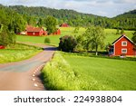 Old Red Farm Houses Set In A...