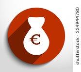 vector money bag web flat icon...