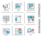 flat line icons set of digital...   Shutterstock .eps vector #224946223