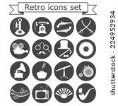 retro icons set on white...