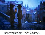 silhouettes of two kids ... | Shutterstock . vector #224953990