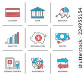 Flat Line Icons Set Of Banking...