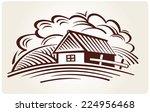 graphical rural landscape | Shutterstock .eps vector #224956468