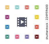video flat icons set. open... | Shutterstock . vector #224959600