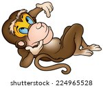Laying Monkey   Cartoon...