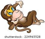 Laying Monkey   Cartoon...