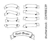 hand drawn ribbon banners. | Shutterstock .eps vector #224988139