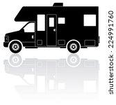 motorhome camper van silhouette ... | Shutterstock .eps vector #224991760
