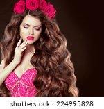 long wavy hair. beautiful... | Shutterstock . vector #224995828