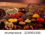 Wooden Table Of Colorful Spices