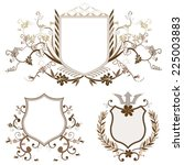 shield design set with various... | Shutterstock . vector #225003883